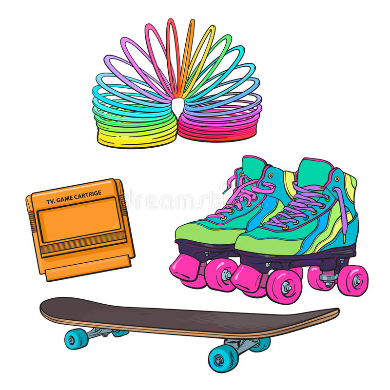 Set of retro pop culture items from 90s royalty free illustration