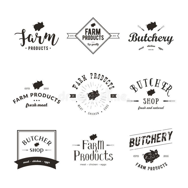 Set retro projektujący butchery loga szablony Emblemat Butchery mięsny sklep z Świniowatą sylwetką, tekst Butchery, Świeży ilustracja wektor