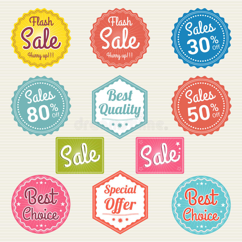 Set of retro promotion discount sale and guarantee tag banner label badge sticker stock illustration