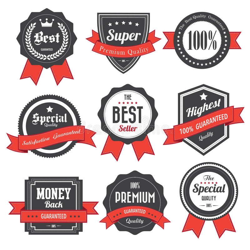 Set retro rocznik odznaki, etykietki i royalty ilustracja