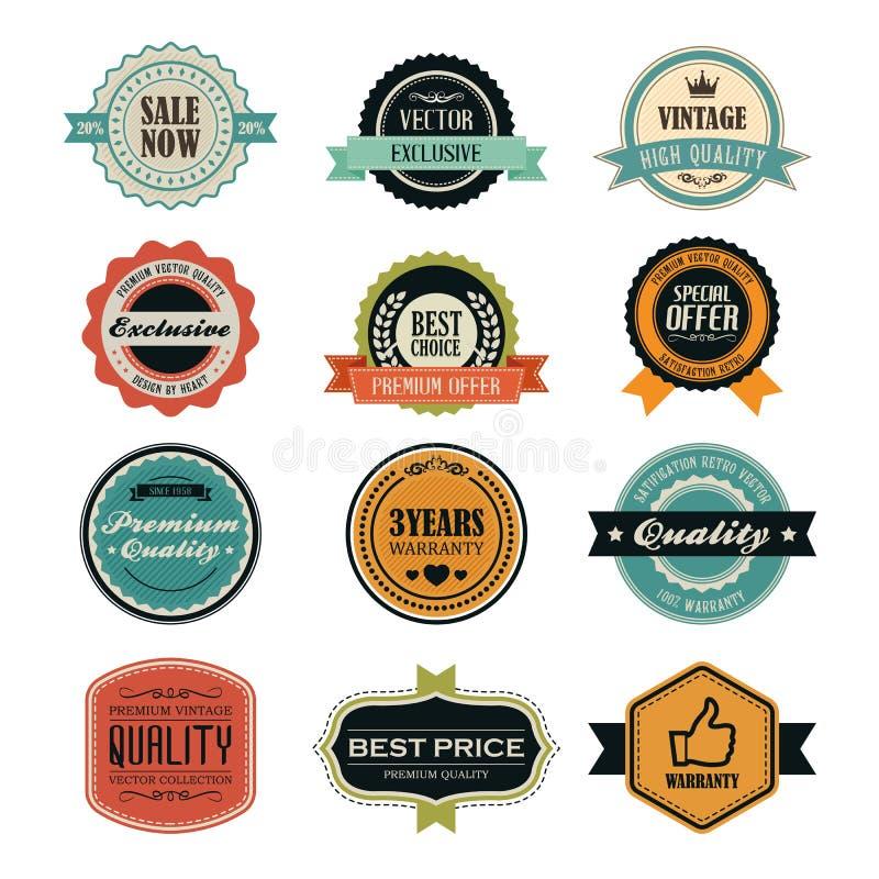 Set retro rocznik odznaki, etykietki i ilustracja wektor