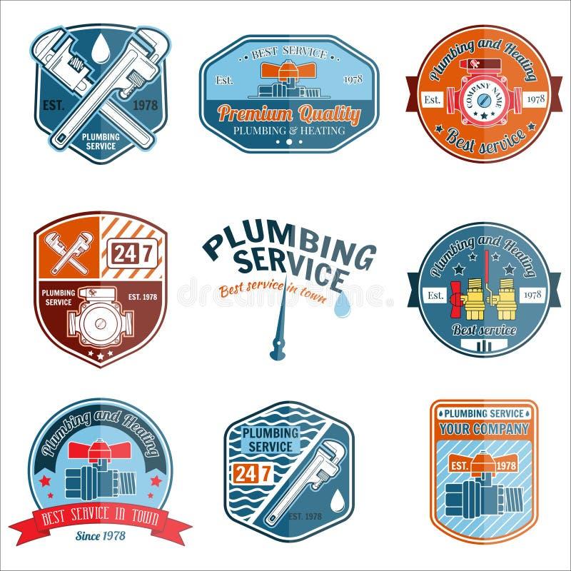 Set retro rocznik odznaki, etykietki i Instalaci wodnokanalizacyjnej i ogrzewania usługa ilustracja wektor