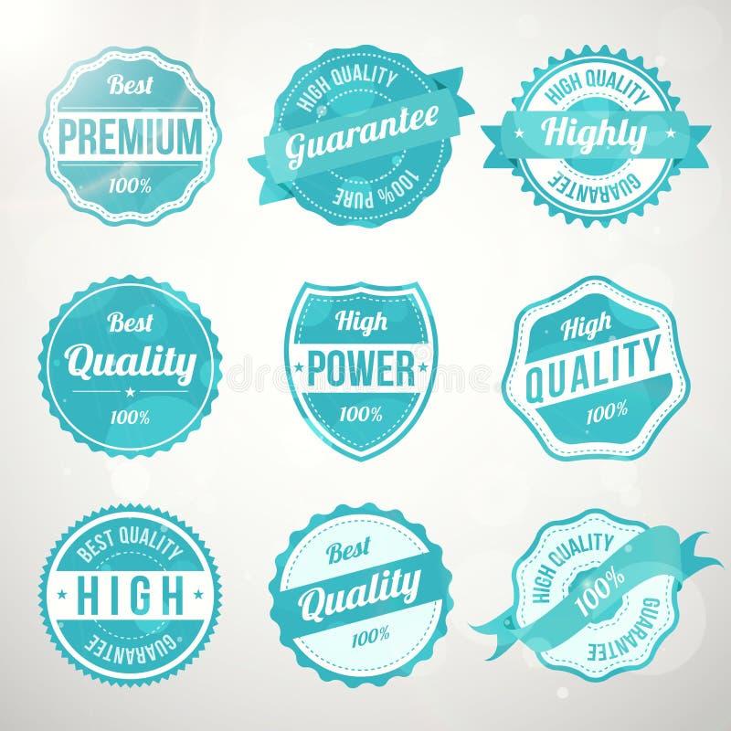 Set retro rocznika projekta turkusowe etykietki royalty ilustracja