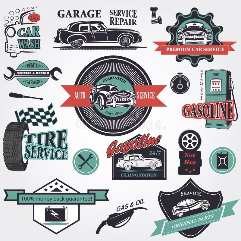 Set retro rocznika samochodu etykietki ilustracji