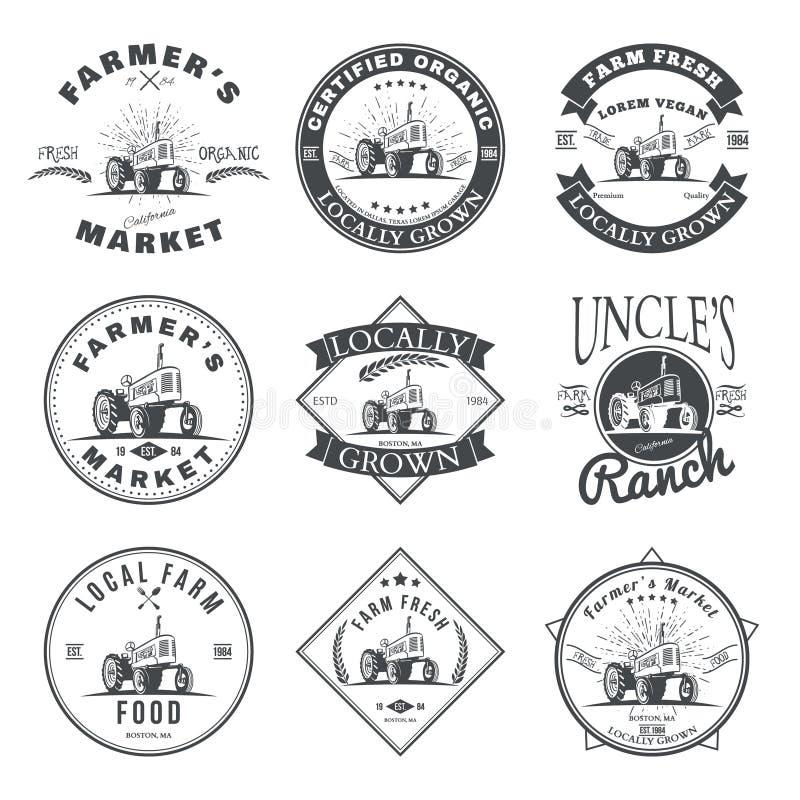Set retro rolne świeże etykietki, odznaki i projektów elementy wektor ilustracja wektor