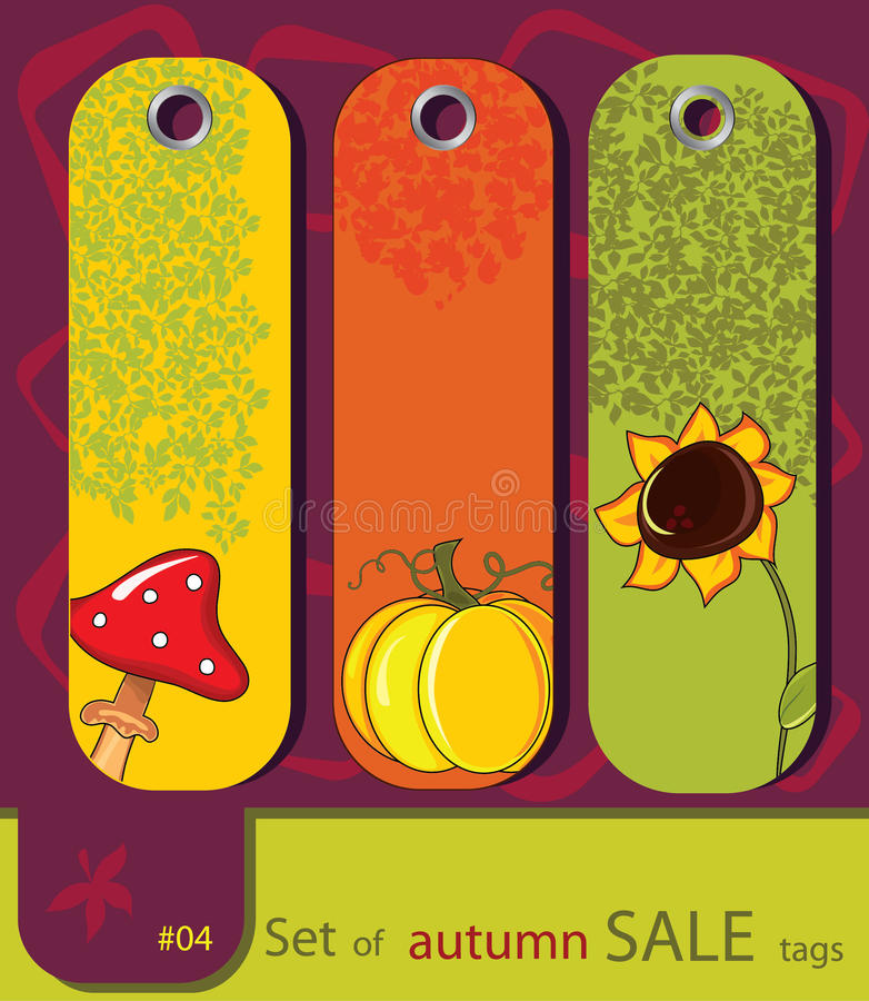 Set Of Retro Sale Nature Autumn Tags Stock Photos
