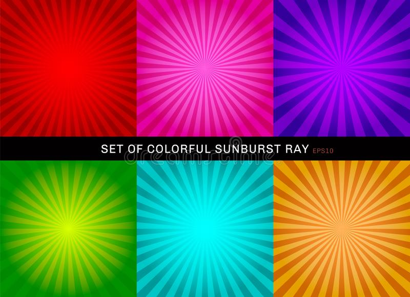 Set of retro shiny colorful starburst background. Collection of abstract sunburst radial red, pink, purple, green, blue, orange royalty free illustration