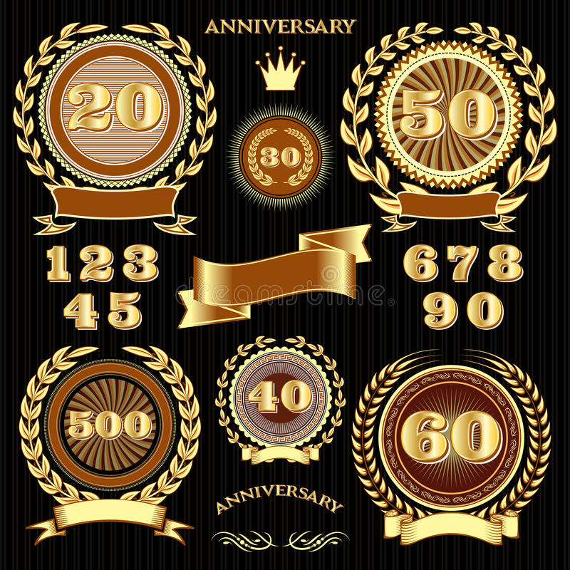 Set retro signs for the anniversary vector illustration