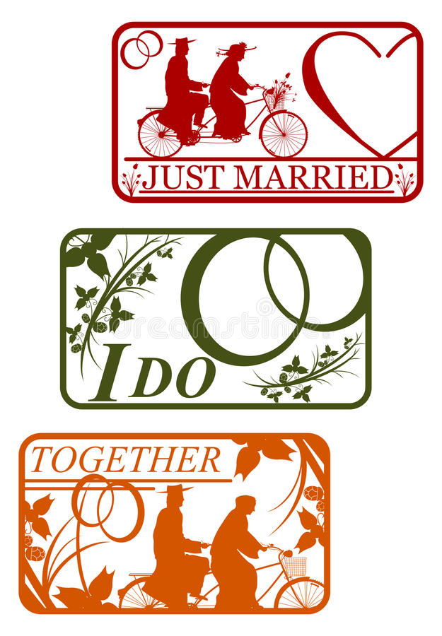 Set Of Retro Stamps With Marriage Motifs. Stock Photos