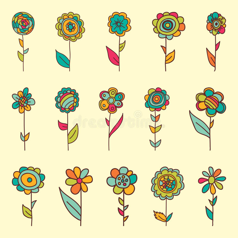 Set of retro style flowers in bright colors. stock image