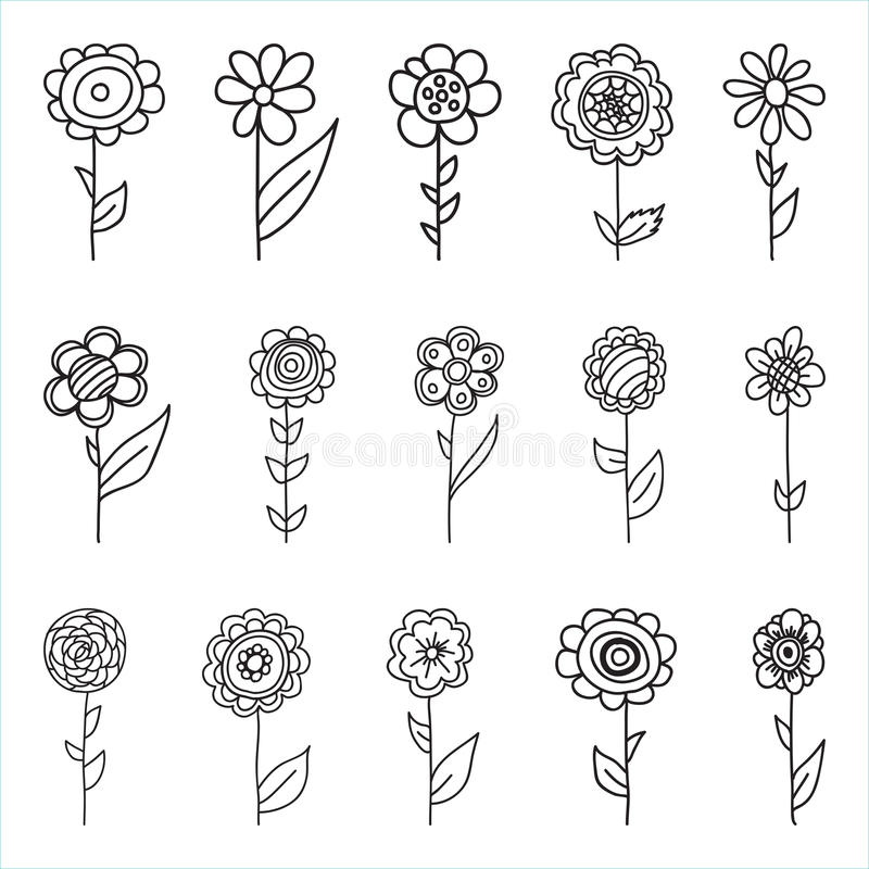 Set of retro style flowers in bright colors. stock photo