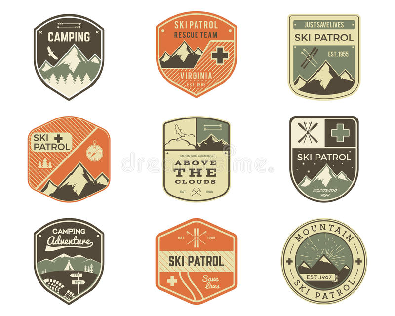 Set of Retro style Ski Club, Patrol Labels. Classic Mountain elements. Winter or summer camping explorer badges. Outdoor adventure logo design. Travel hipster stock illustration