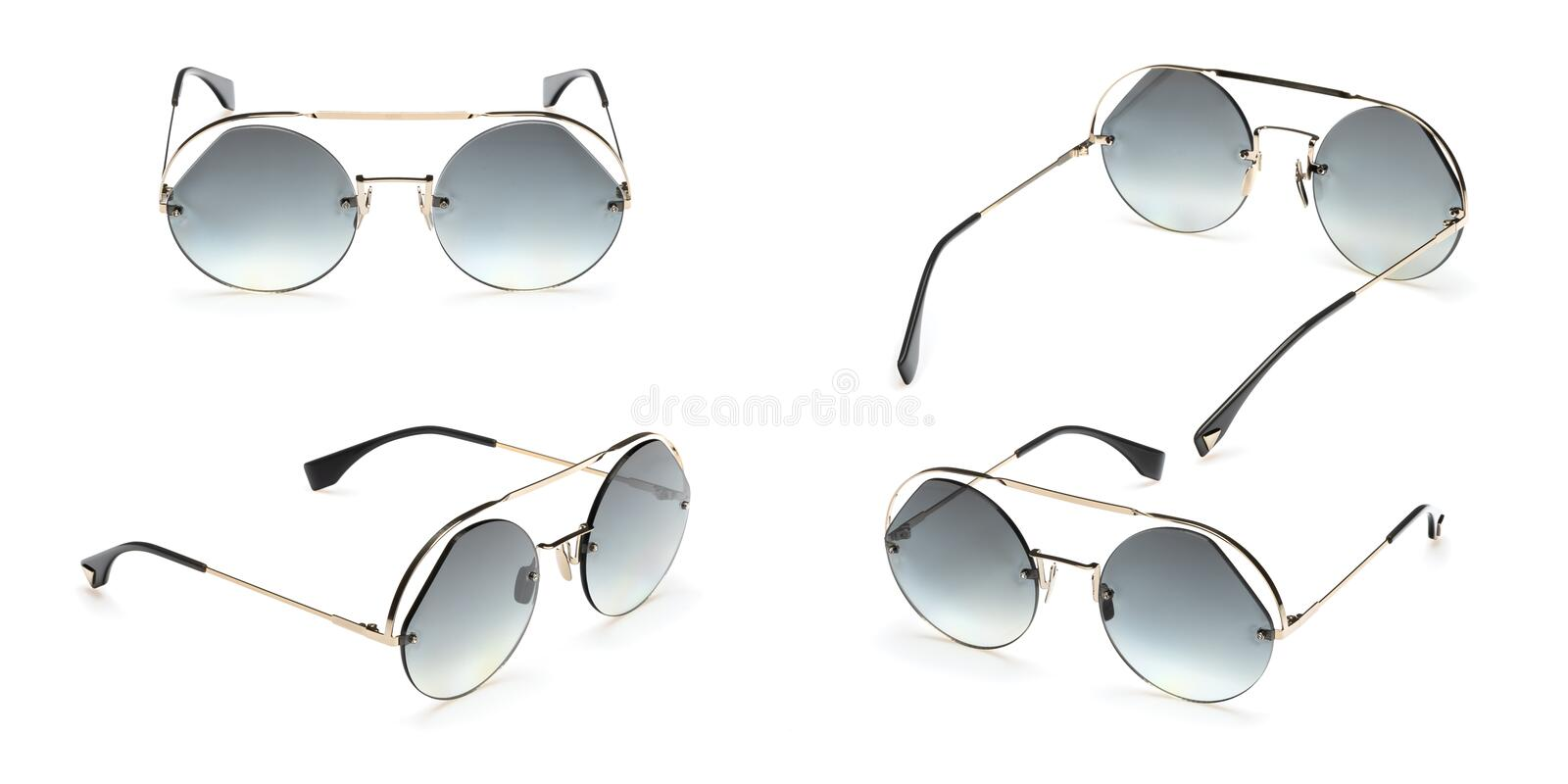 Set Retro sunglasses in round frame isolated on white background. Collection fashion Vintage summer sunglasses stock photos