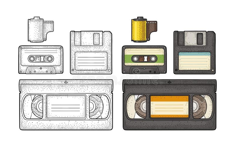 Set retro technology object. Vintage vector black engraving illustration. Set retro technology object. Floppy disk, photo film in cartridge, video and audio vector illustration