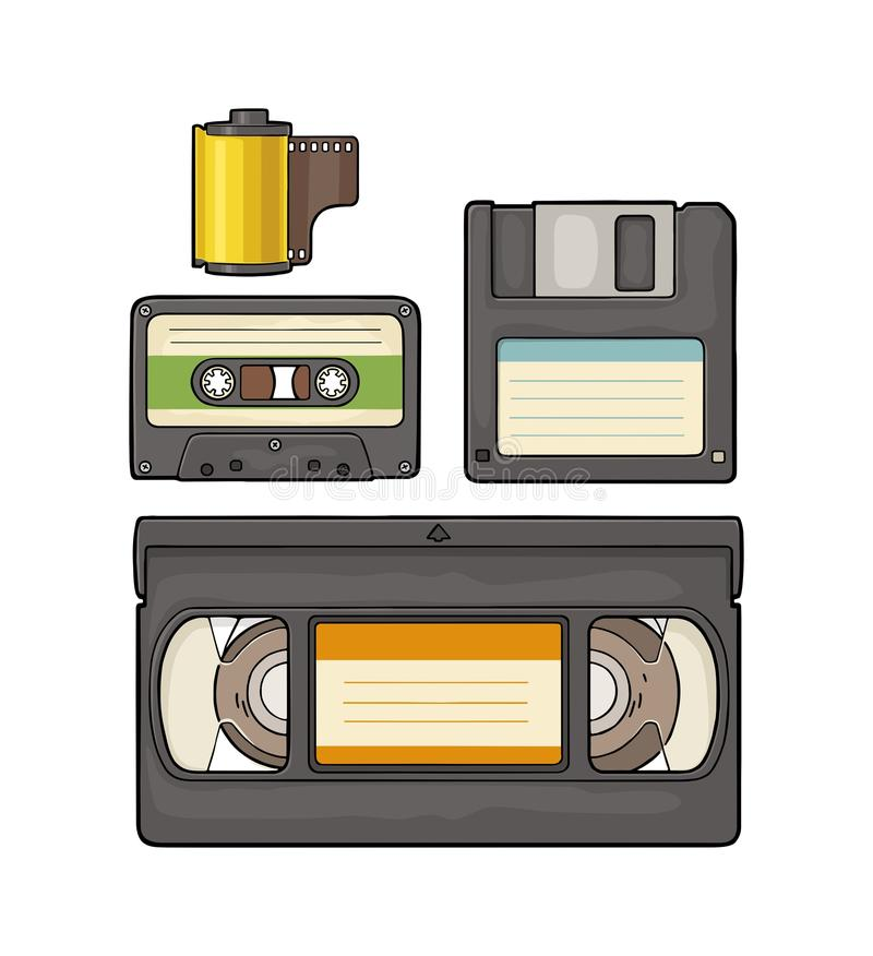 Set retro technology object. Vintage vector black engraving illustration. Set retro technology object. Floppy disk, photo film in cartridge, video and audio royalty free illustration