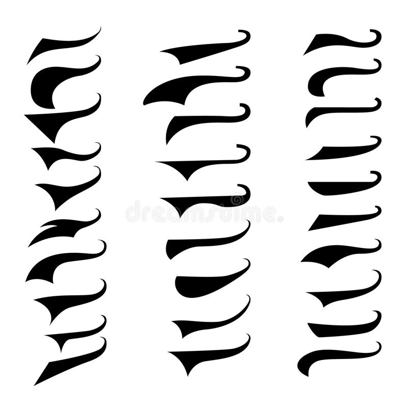 Set of retro typography text tails. element for poster,sign, t shirt. Vector illustration stock illustration
