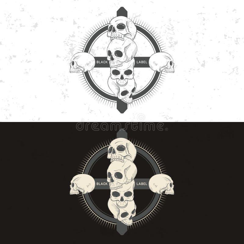 Set Of Retro Vintage Badge, Symbol Or Logotype With Skull