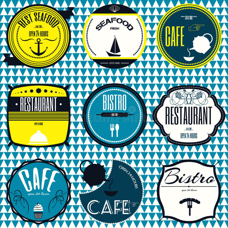 Set retro vintage badges, ribbons and labels hipster signboard royalty free stock photos