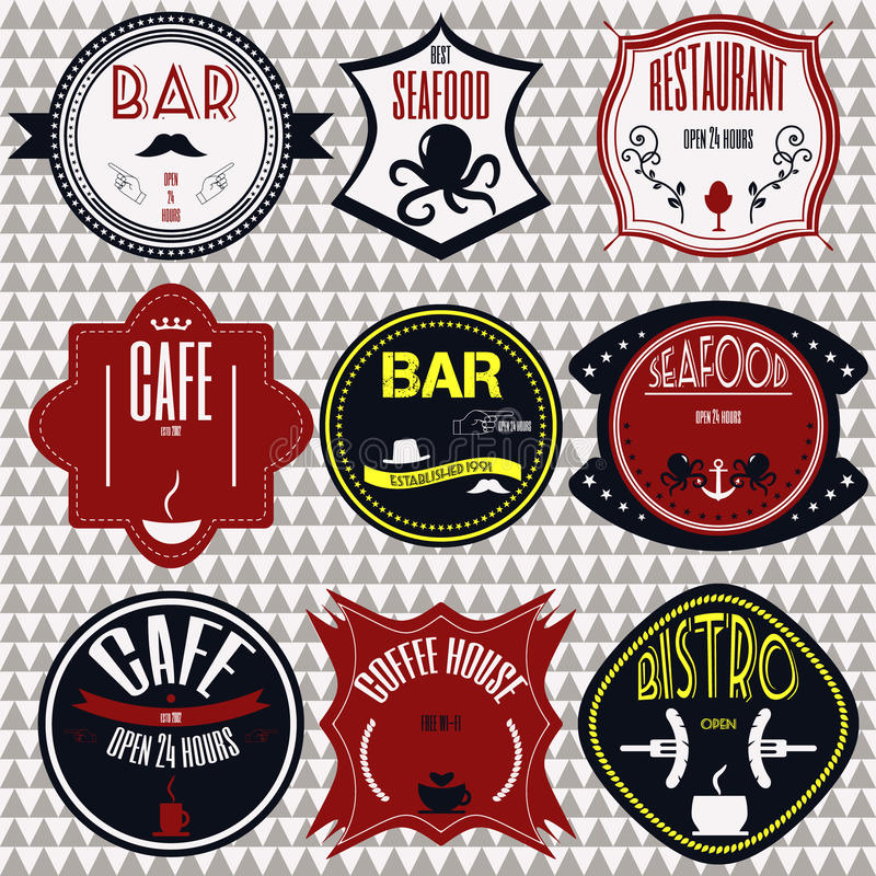 Set retro vintage badges, ribbons and labels hipster signboard. Coffee shop, restaurant Set retro vintage badges, ribbons and labels hipster signboard stock illustration