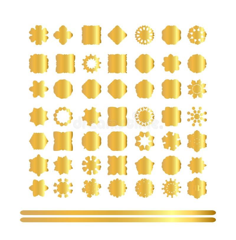 Set of retro vintage gold badges and labels stock illustration