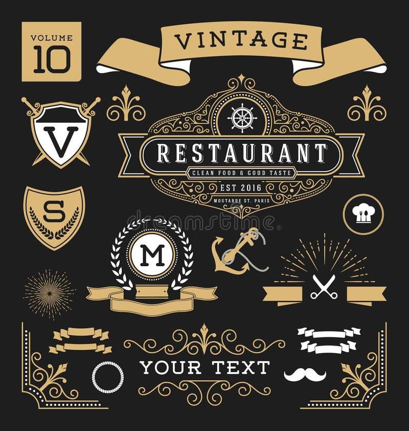 download set of retro vintage graphic design elements stock vector illustration of logo luxury