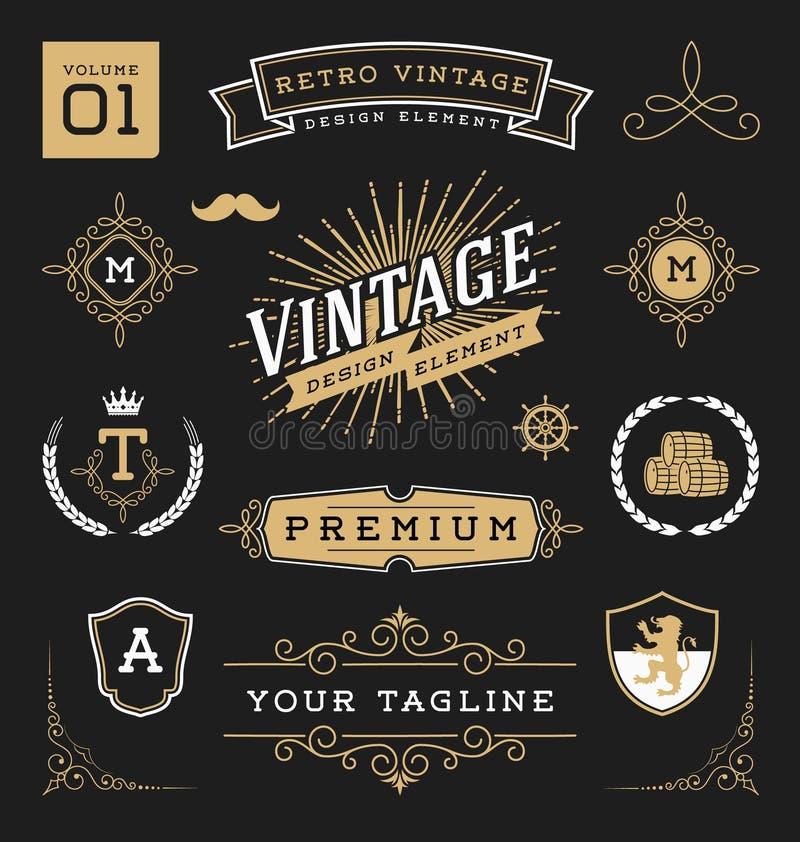 download set of retro vintage graphic design elements stock photo image of greeting design