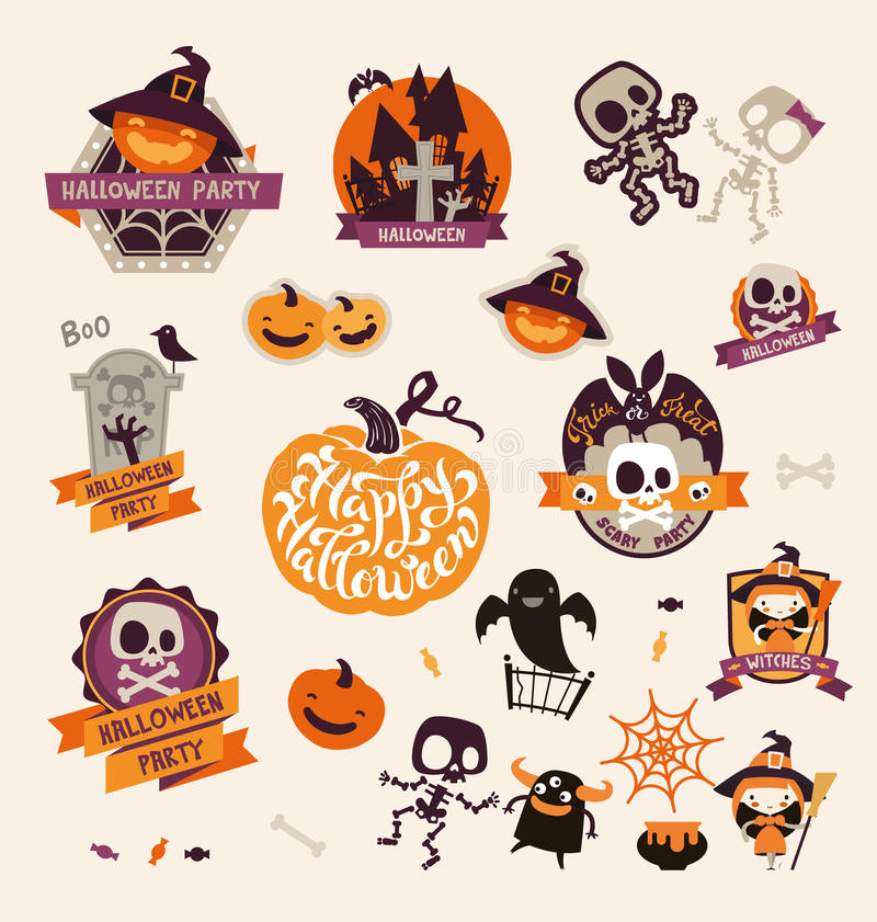 Set of Retro Vintage Happy Halloween Badges, Stickers, Labels. Design Elements for Greetings Card or Party Flyer. royalty free illustration
