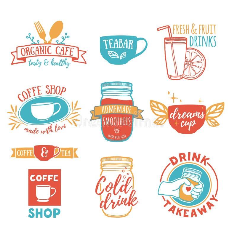 Download Set Retro Vintage Logos For Coffee Shop Tea Bar Logo With Juice