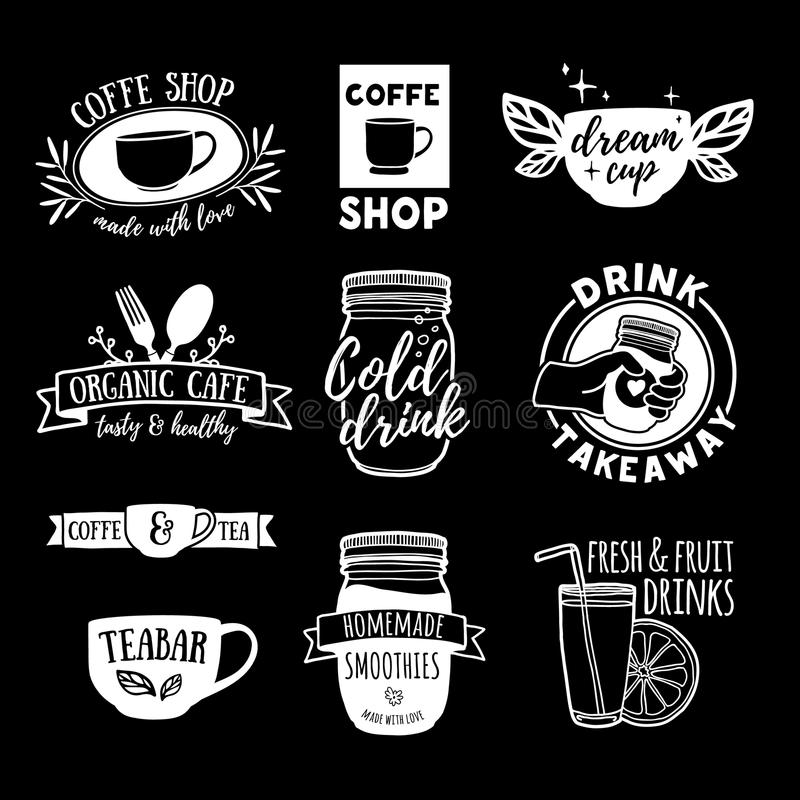 set retro vintage logos for coffee shop tea bar logos with juice smoothies and a cup of tea symbol label badge stock vector illustration of black bistro 78657759 set retro vintage logos for coffee shop