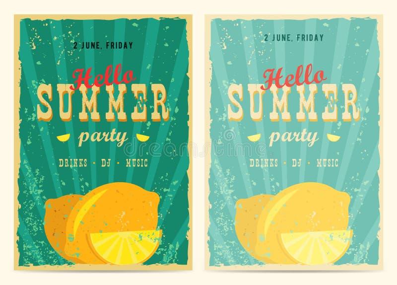 Set retro wakacji letnich plakaty Podróży i wakacje rocznika znaki inkasowi Słońca lato i denni promocyjni sztandary bea ilustracja wektor
