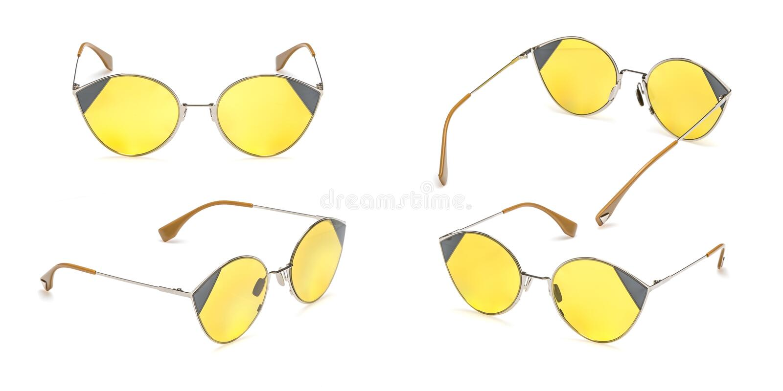 Set Retro yellow sunglasses in round frame isolated on white background. Collection fashion Vintage summer sunglasses royalty free stock photo