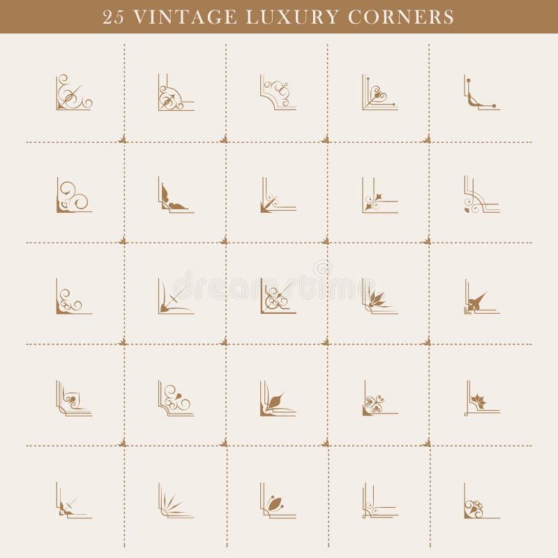 Set retro zawijasów rocznika kątów kaligraficzny projekt ilustracji