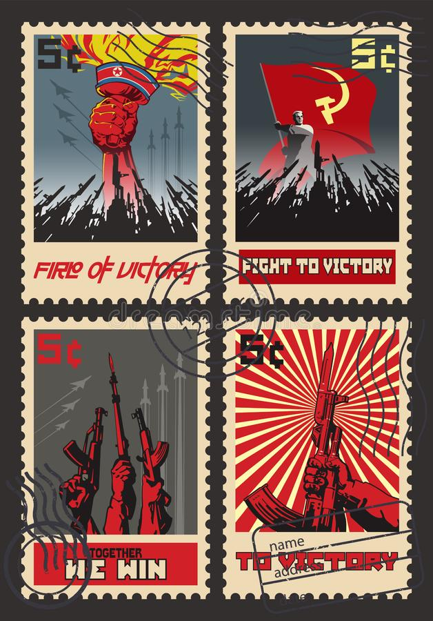 Set Retro znaczek pocztowy wojny propaganda ilustracja wektor