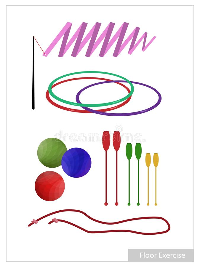 Set of Rhythmic Gymnastic Equipments on White Background. Illustration Collection of Rhythmic Gymnastic Equipments, Clubs, Ball, Hoop, Ribbon and Rope for royalty free illustration
