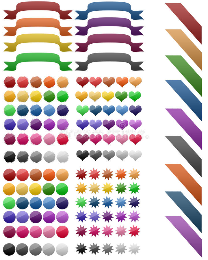 Set of ribbon,badges and labels stock illustration