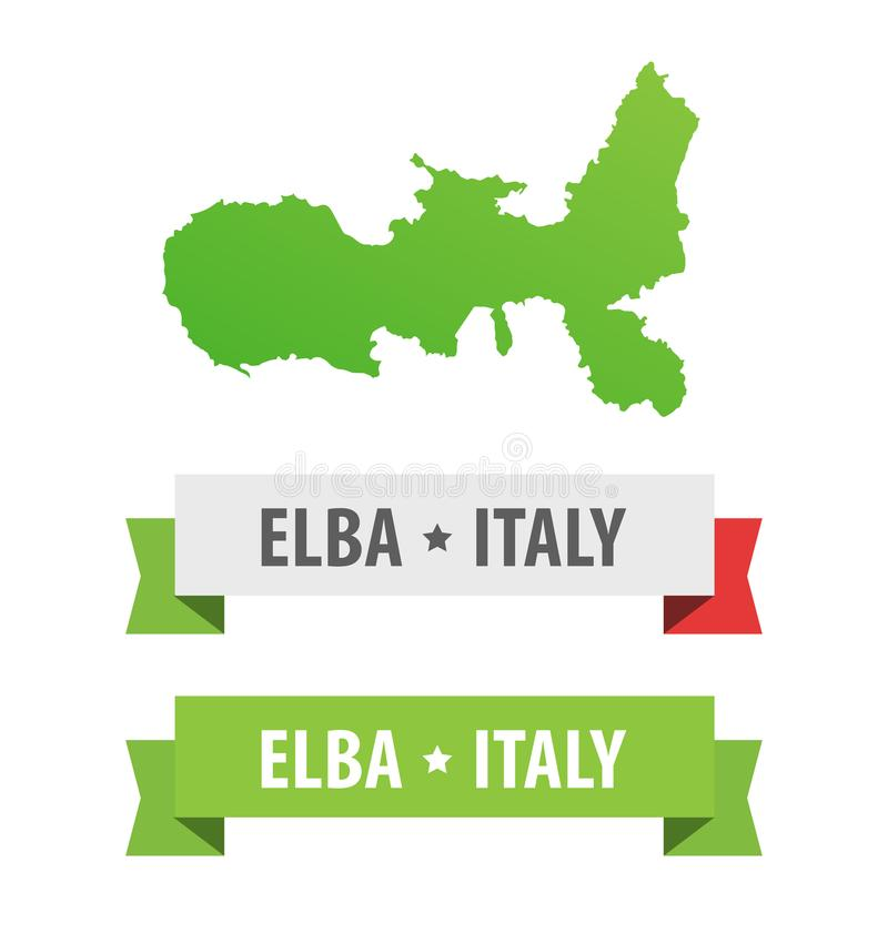 Set of Ribbons with Elba, Italy caption and Map of Elba Island in Italy. Vector design elements isolated on white. Set of Ribbons with Elba, Italy caption and royalty free illustration
