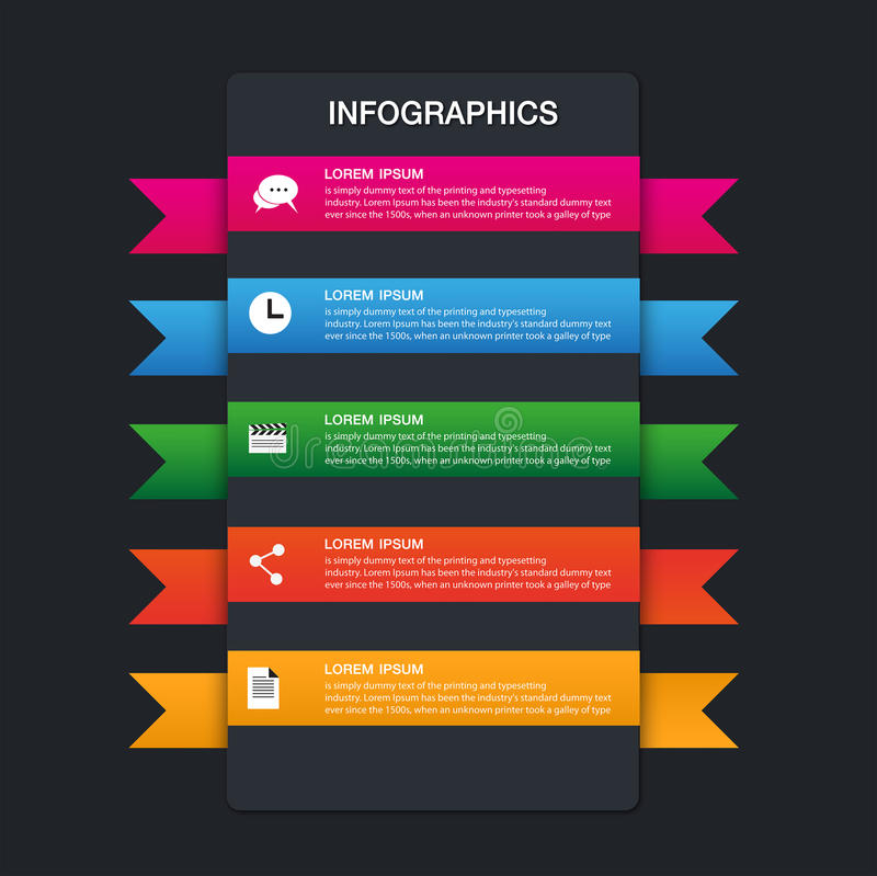 Set of ribbons. Infographic design,5 options royalty free illustration