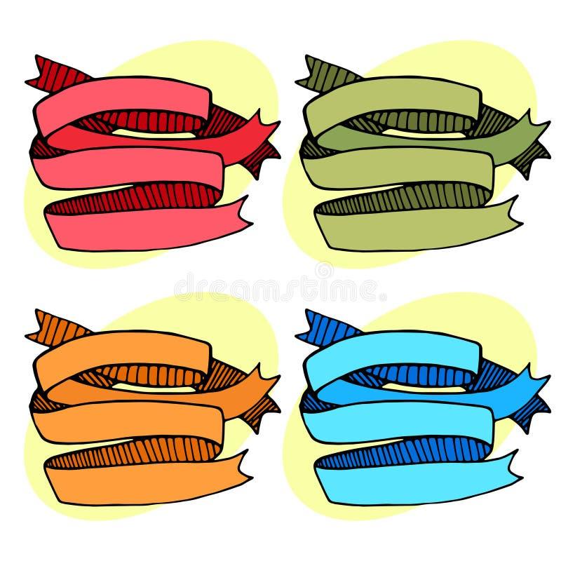 Set of ribbons strips red green orange blue. Vector illustration royalty free illustration