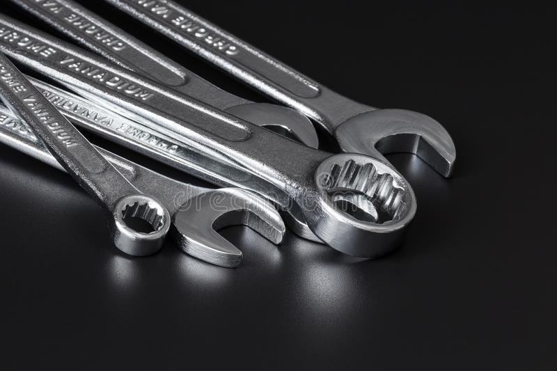 Set of ring and open-end wrench stock photography