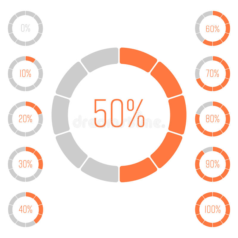 Set of ring pie charts with percentage value. Performance analysis in percent. Modern vector grey-orange infographic. Graph elements stock illustration