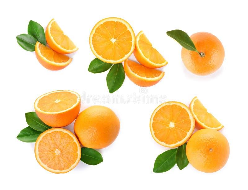 Set of ripe juicy oranges on white background royalty free stock photos