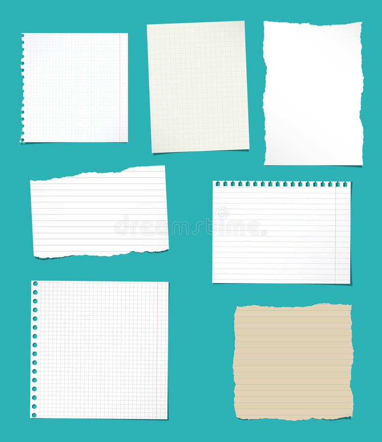 Set Of Ripped White And Brown Ruled, Math Notebook Paper Sheets ...