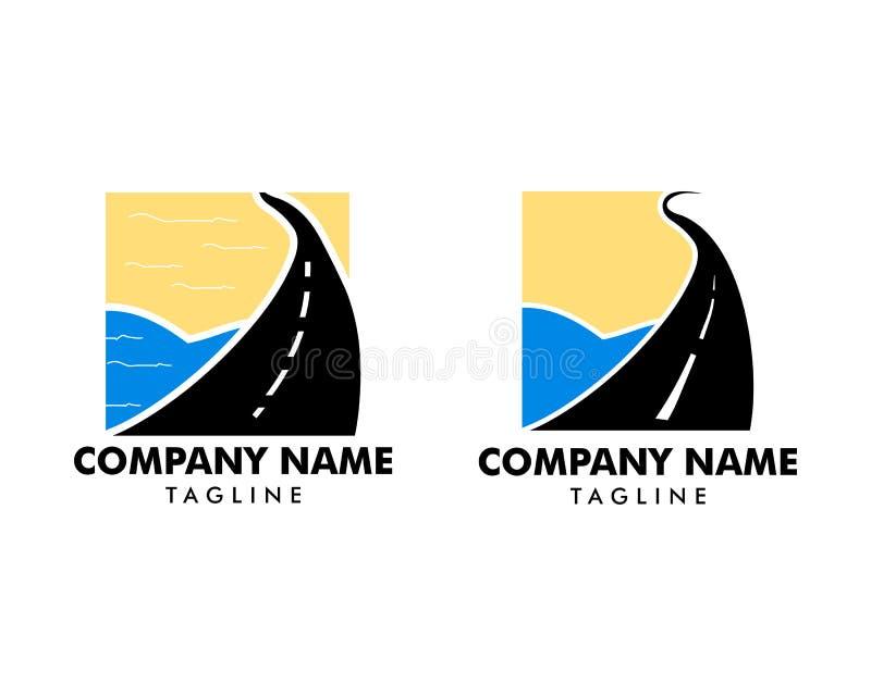 Set of Road Beach logo design Vector stock illustration