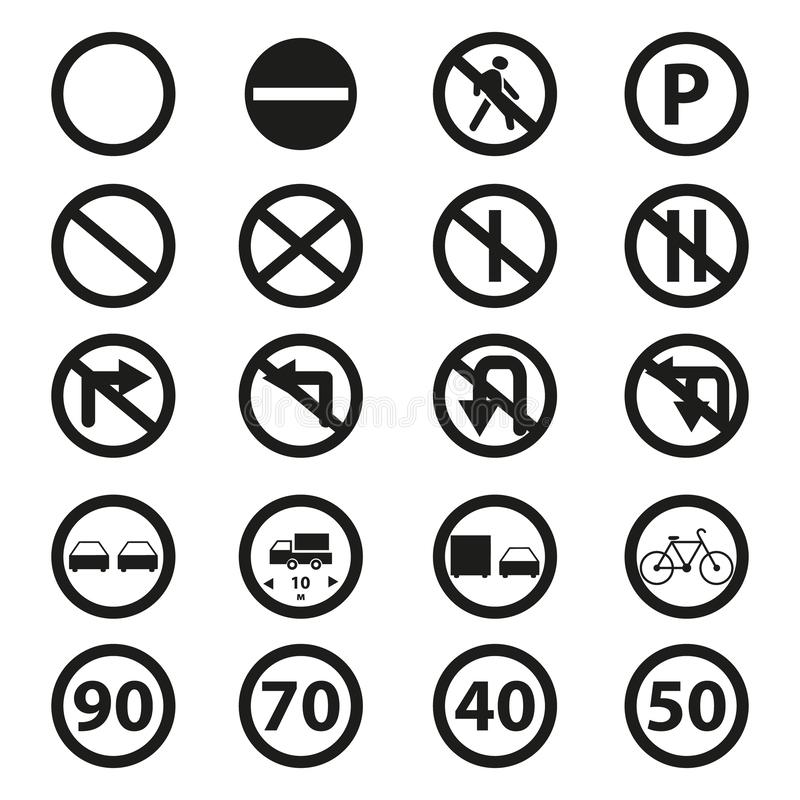 Set of the road prohibition signs icons. On the white background vector illustration