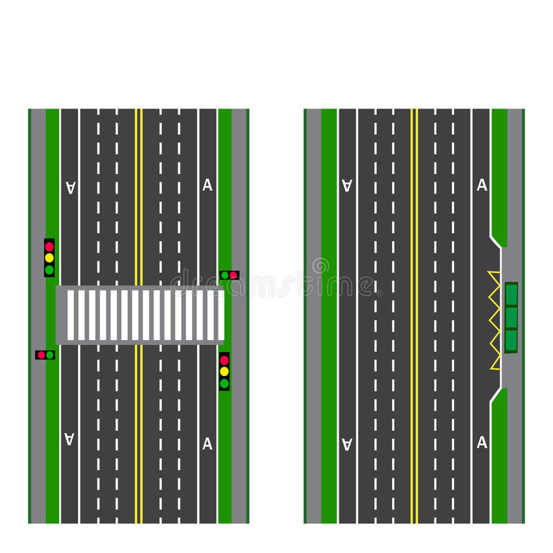 A set of road sections. Stop. Transition. Bicycle paths, sidewalks and intersections. View from above. illustration stock illustration