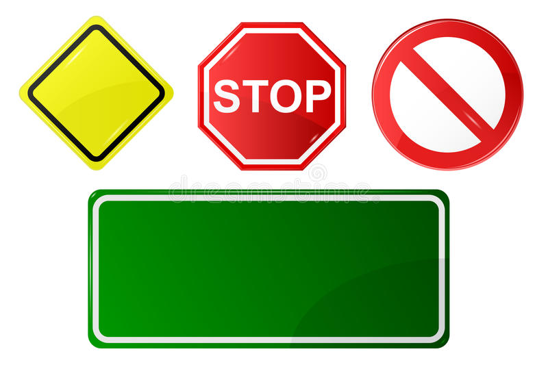 Set of road signs stock illustration