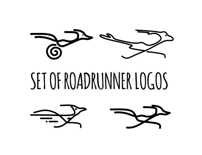 Set of Roadrunner logos . Bird logo. Vector silhouette of a running road runner.Logo for your company. Hand-drawn running Roadrunner .Bird icon stock illustration