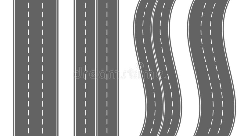 Set of roads and highways isolated on white background. Roads and road bends top view. Vector stock vector illustration