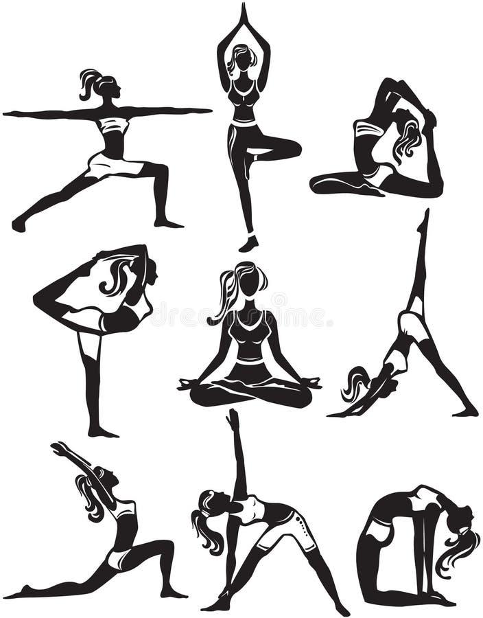 Set robić joga pozom ilustracja wektor