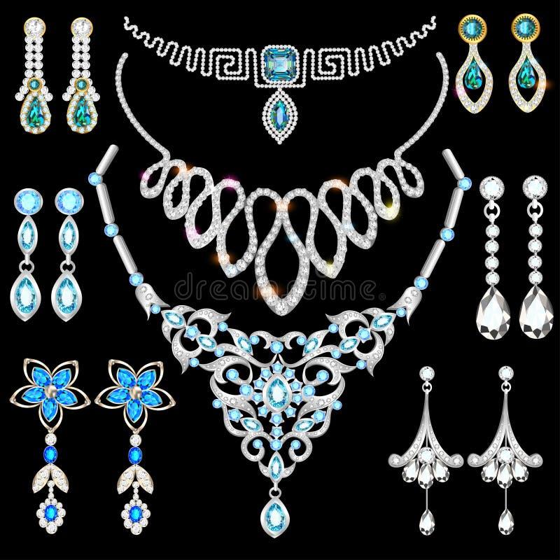 set robić srebny złoto i cenny sto biżuteria ilustracja wektor